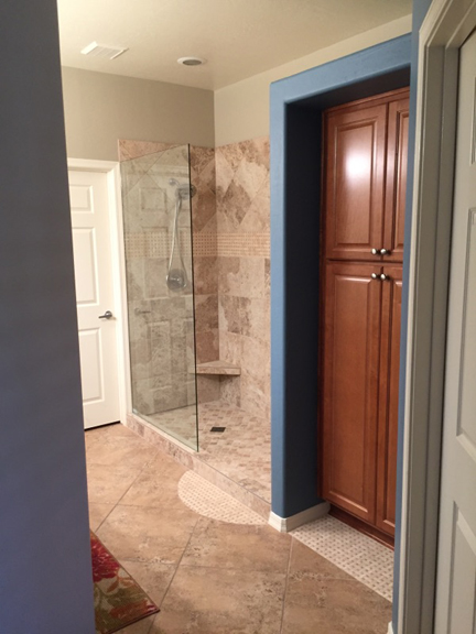 Fountain Hills Arizona Master Shower Remodel & Tub to Linen Cabinet Conversion